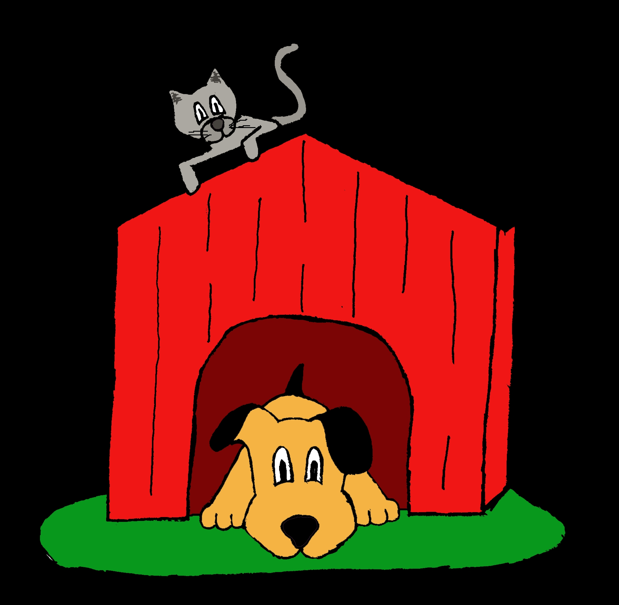 building coloring pages - inside the dog house clipart