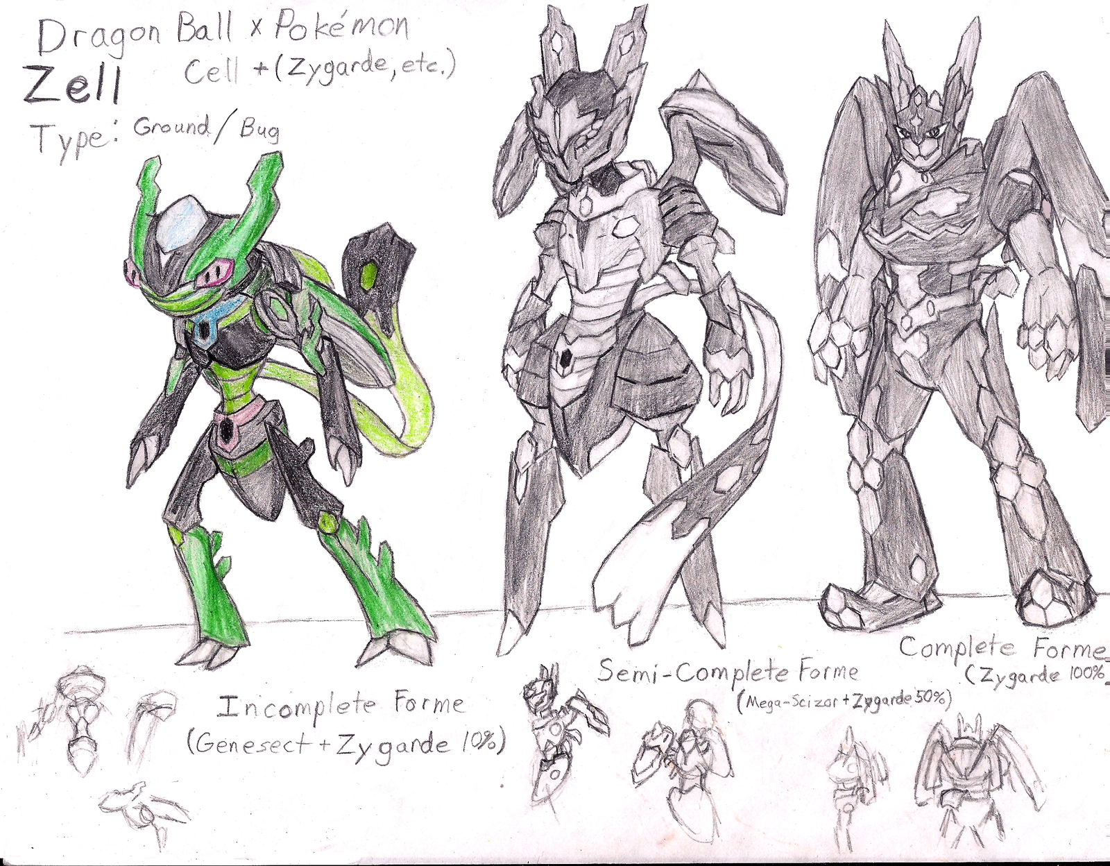 building coloring pages - Pokemon x Dragon Ball Z Cell Concept