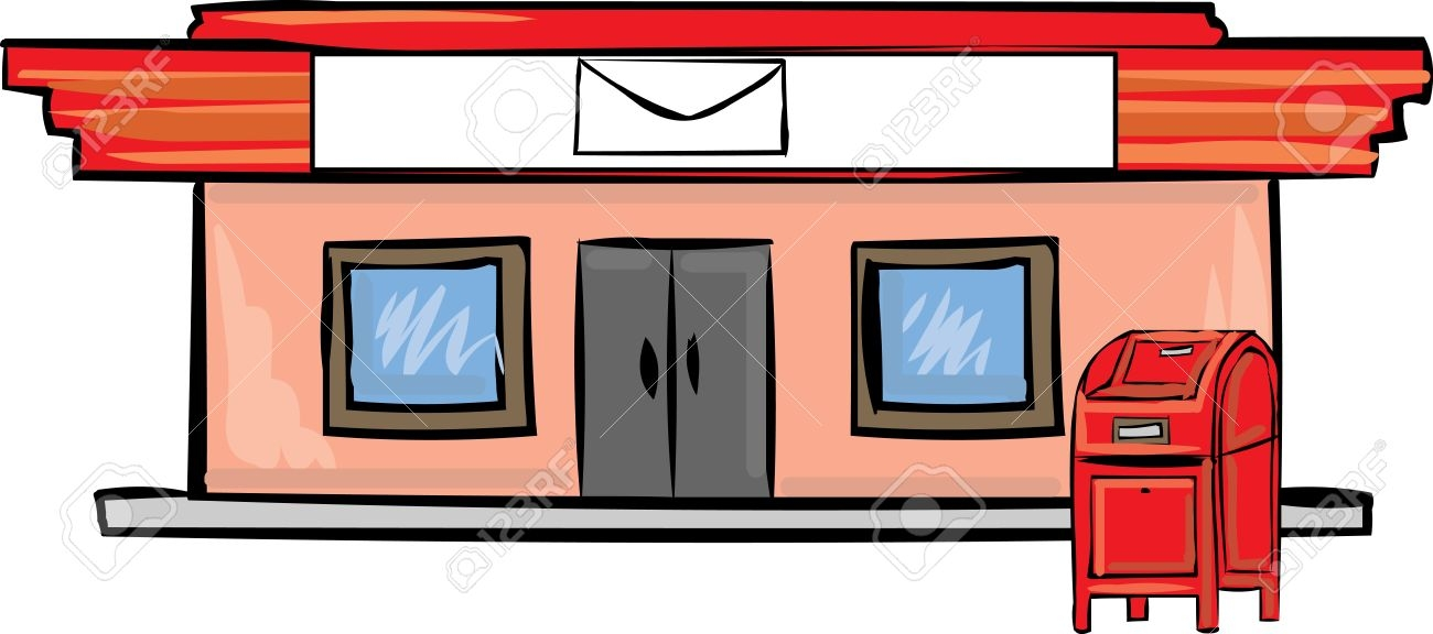 building coloring pages - post office clipart