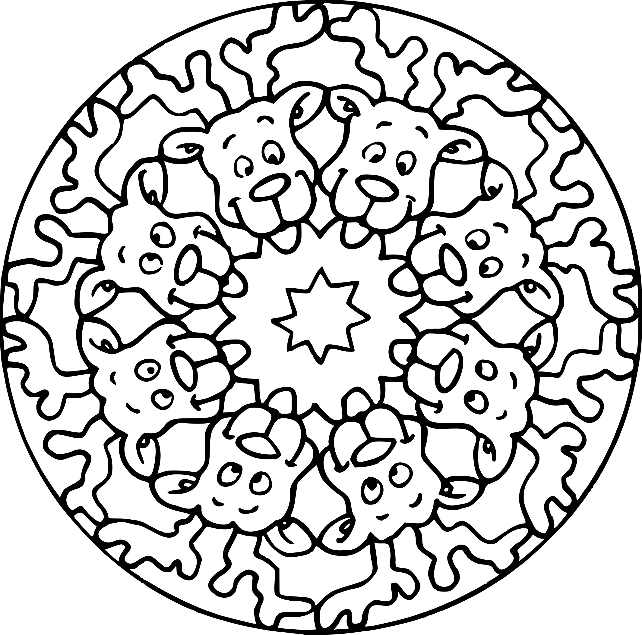 bulldog coloring pages - mandala chien