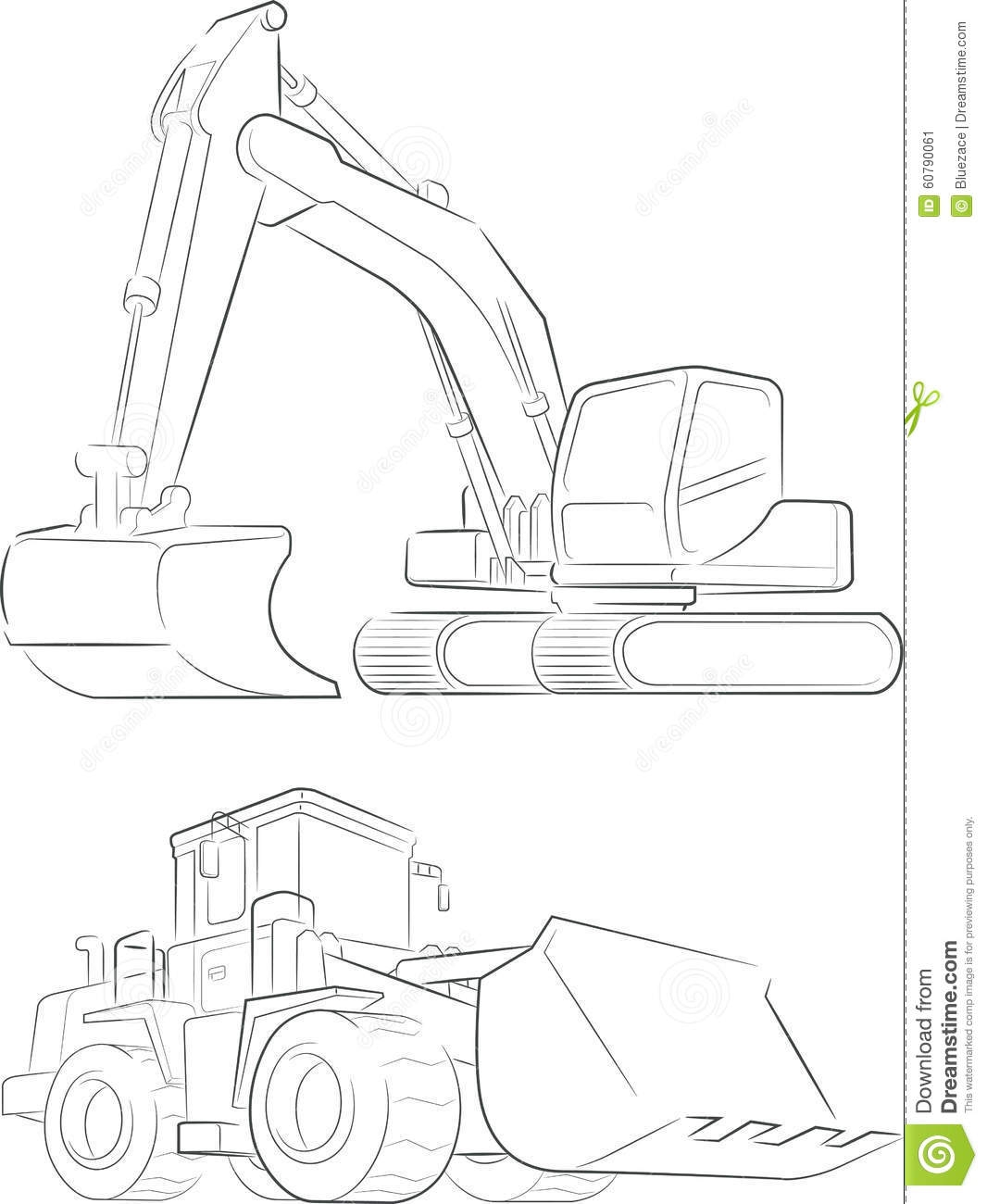 bulldozer coloring pages - stock illustration bulldozer excavator vector line art image sketch very good design needs outline image