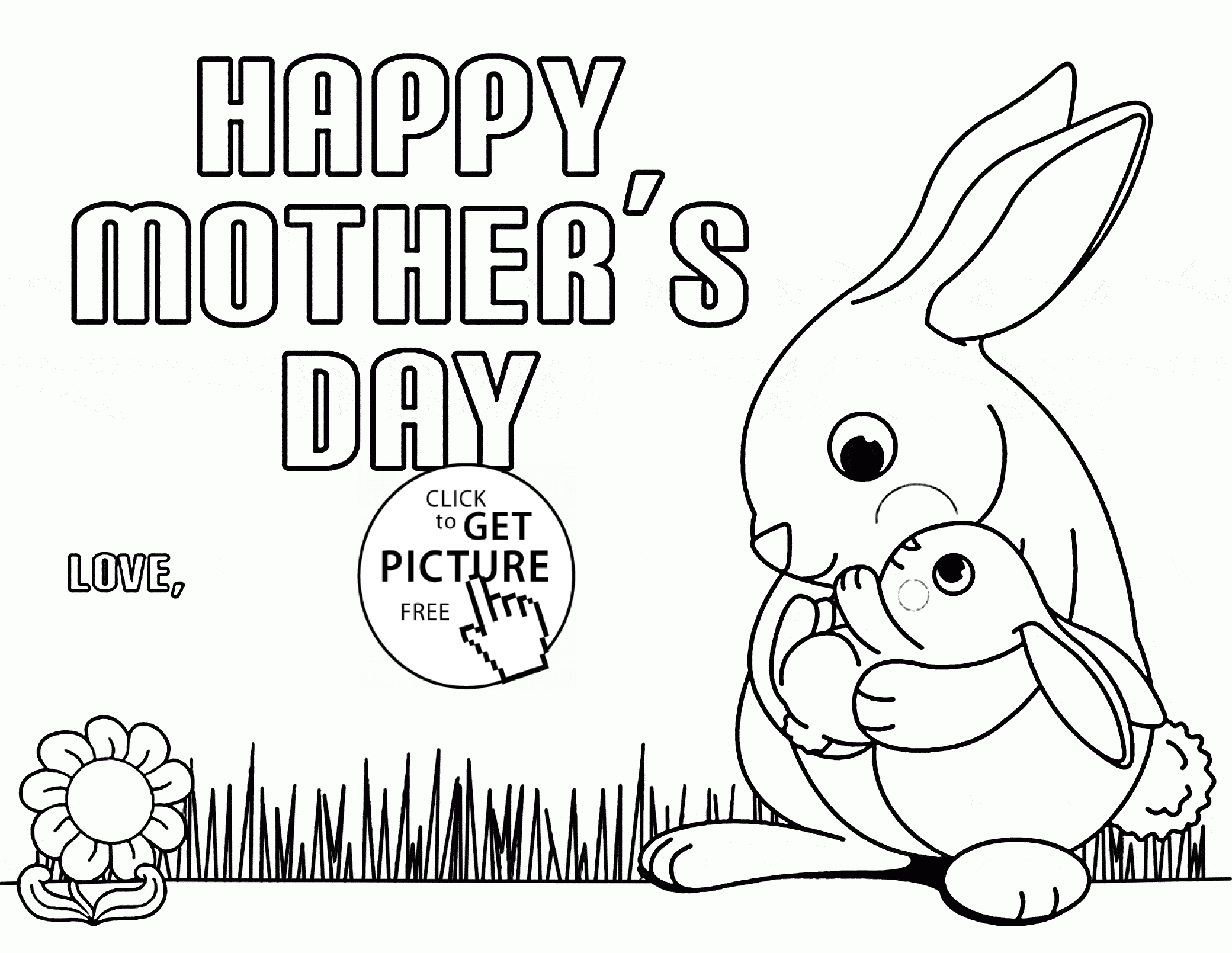 bunny coloring pages free - cute bunny for mothers day coloring page for kids coloring pages printables free