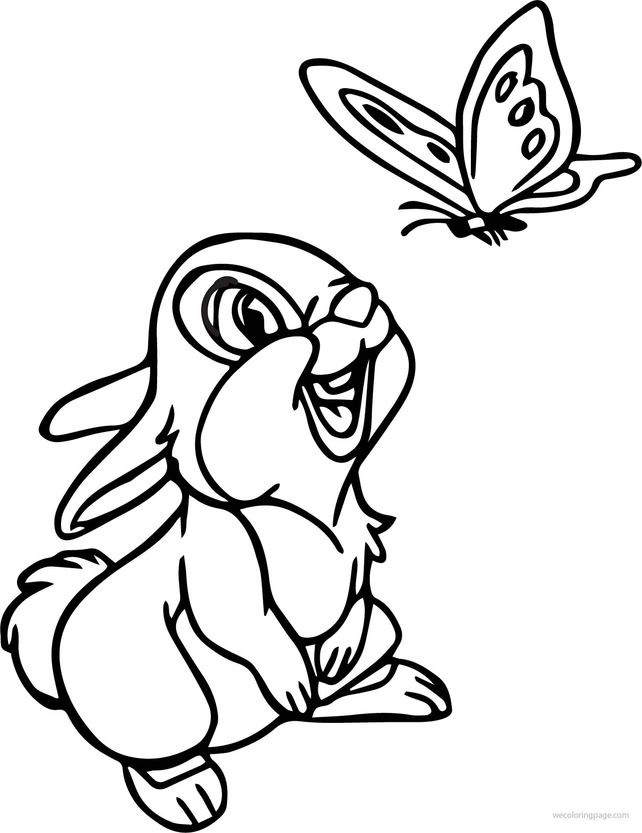 butterfly coloring pages - disney bambi thumper bunny see butterfly cartoon coloring page