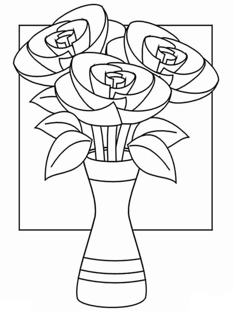 cactus coloring page - flowers in a vase coloring page