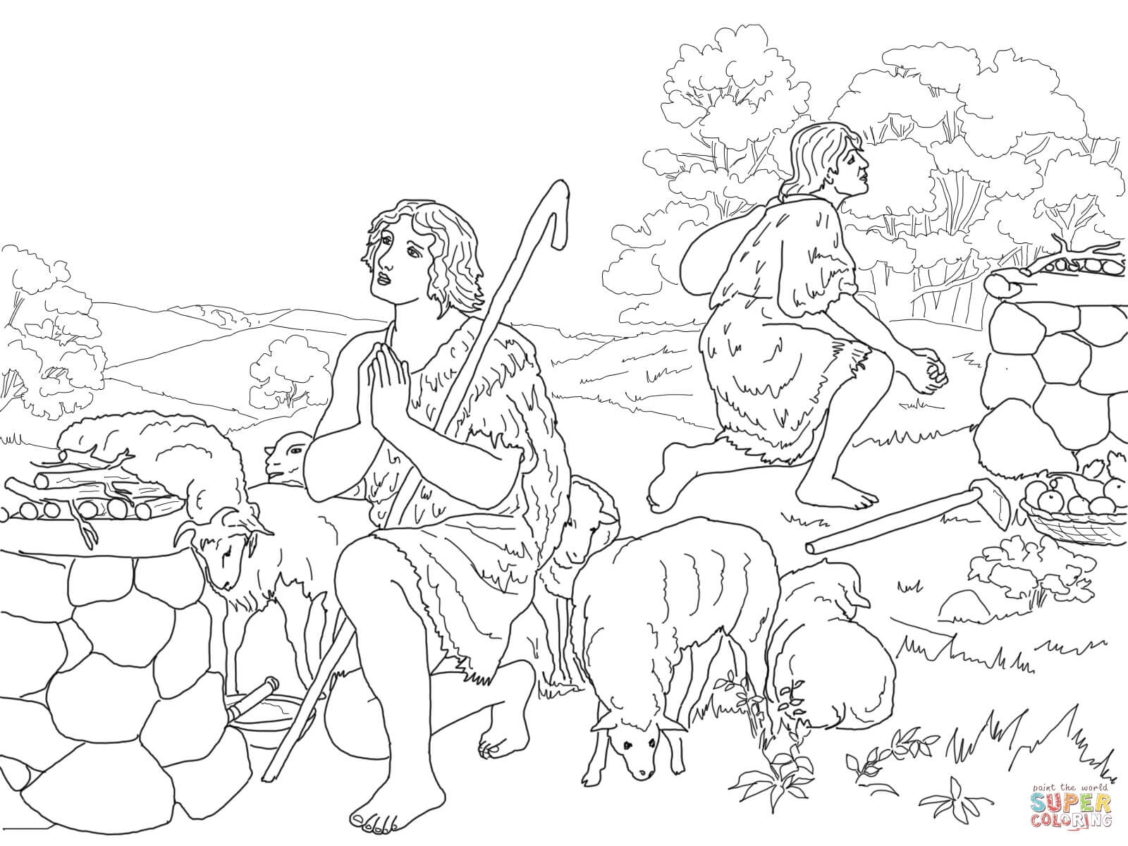 cain and abel coloring page - Cain and Abel