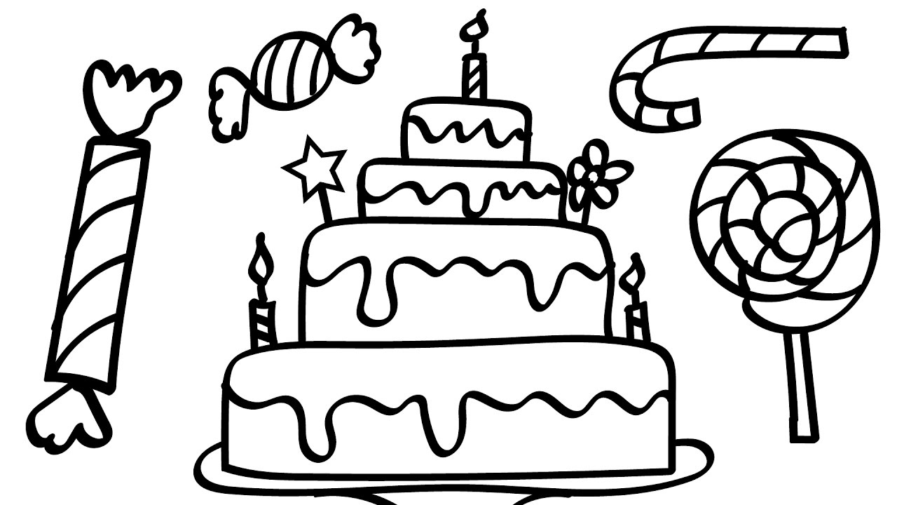 Cake Coloring Pages - Birthday Cake and A Lot Candy Coloring Pages Kids Fun