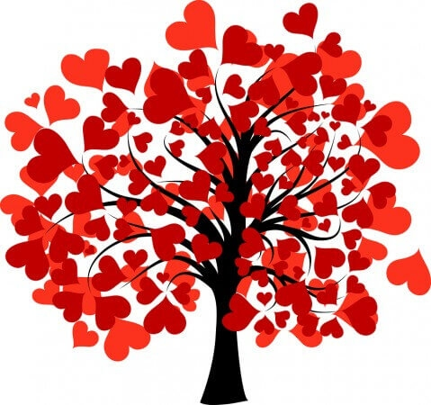calendar coloring pages - decorated valentines tree
