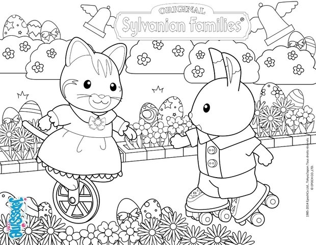 calico critters coloring pages - celebrate easter with the sylvanian families