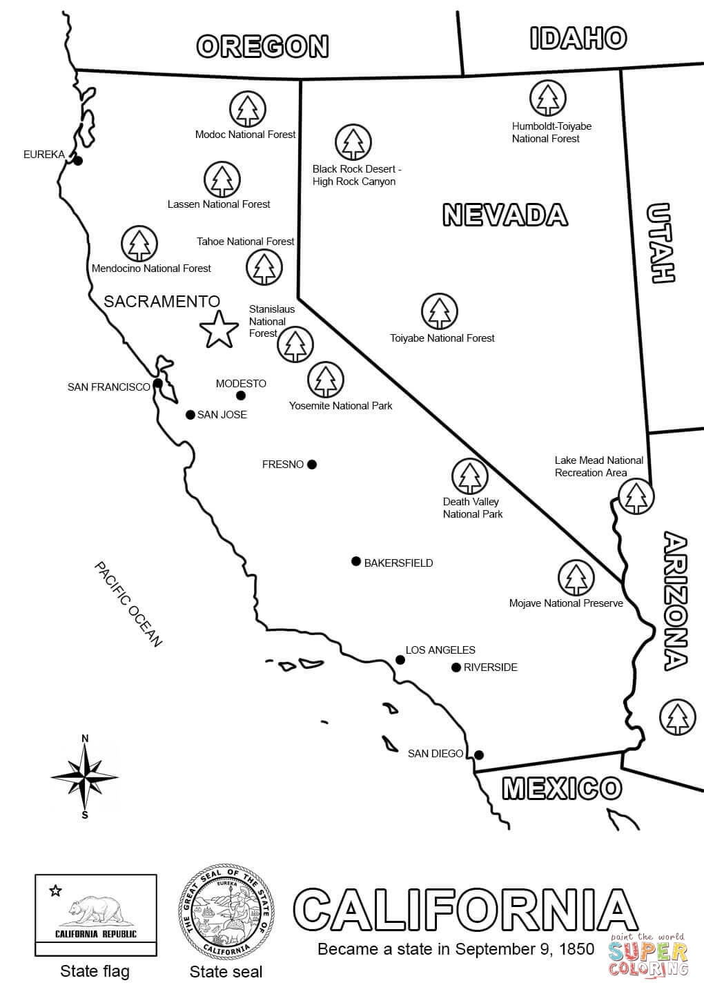 california coloring pages - map of california