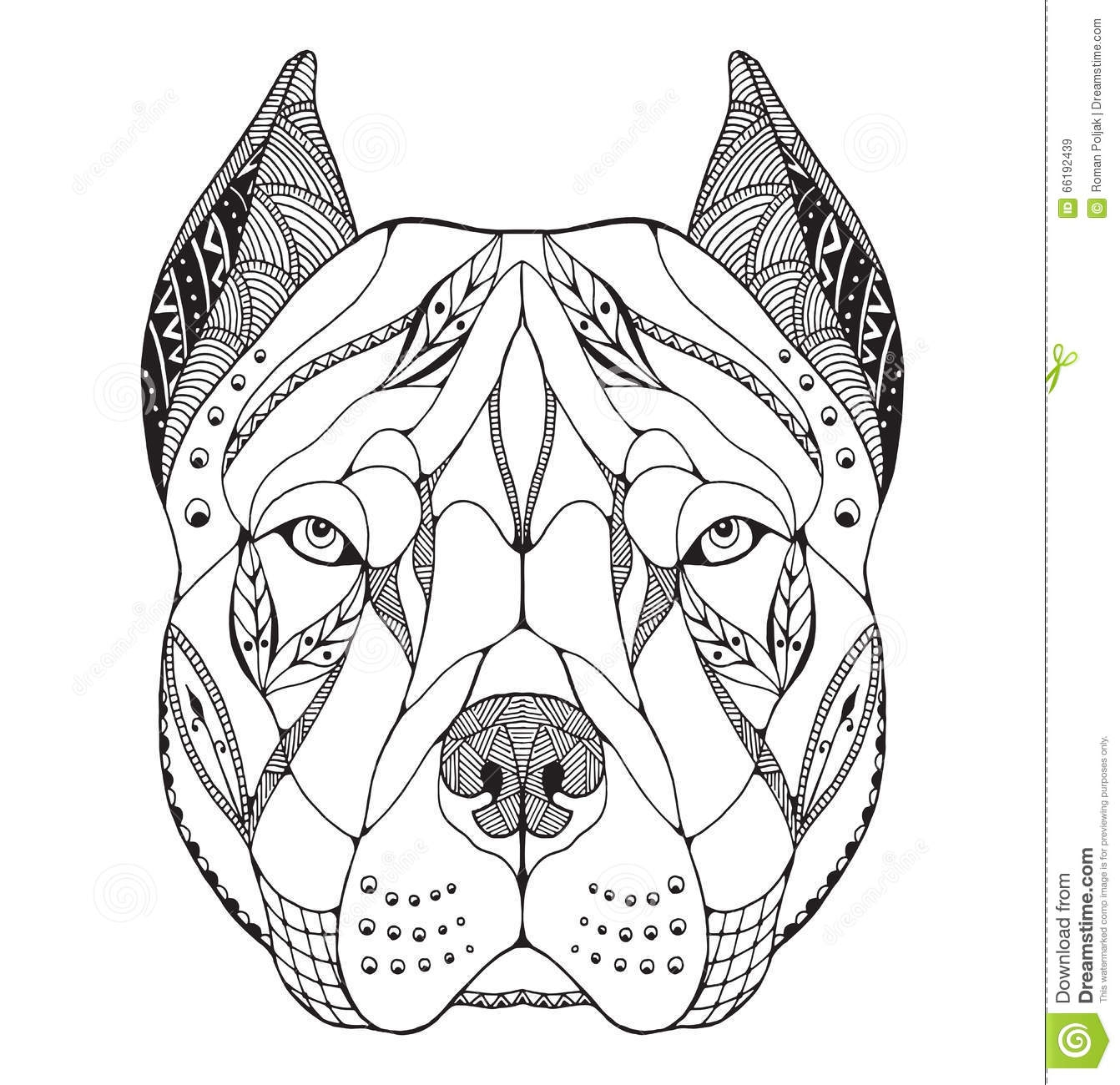 calming coloring pages - stock illustration pit bull terrier head zentangle stylized vector illustration freehand pencil hand drawn pattern zen art ornate lace print image