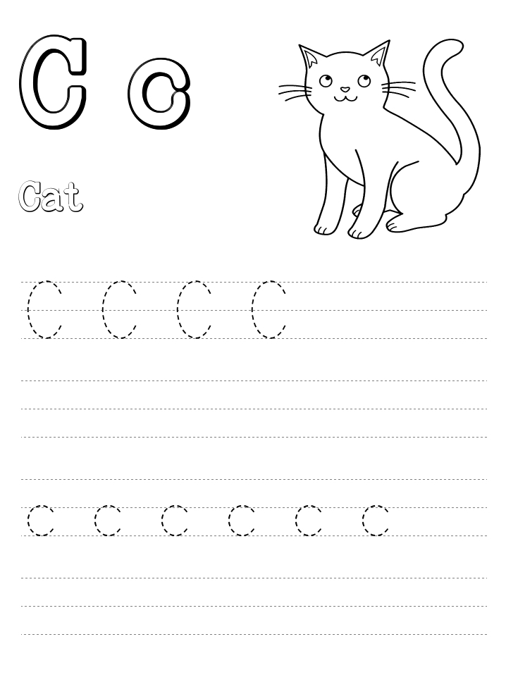 camel coloring page - cat alphabet tracing page