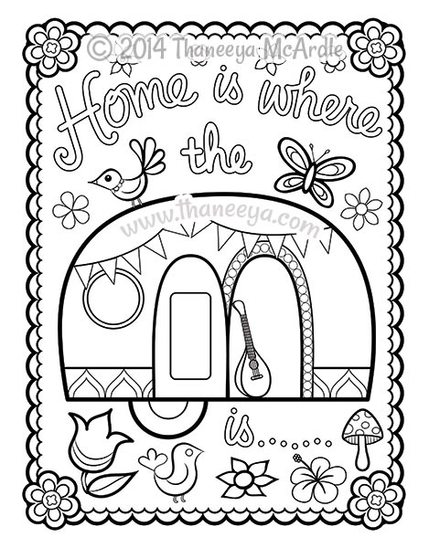 camper coloring pages - happy campers coloring book