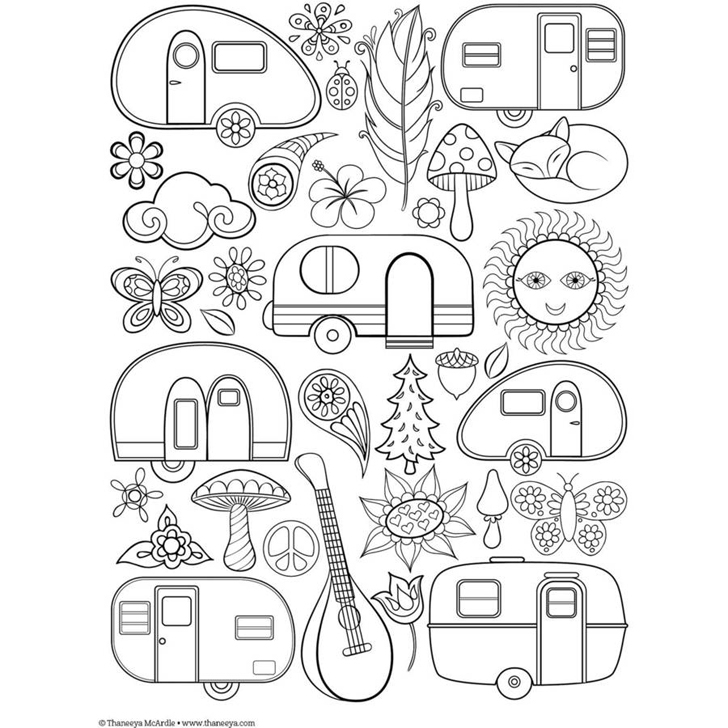 camper coloring pages - retro camper coloring pages sketch templates