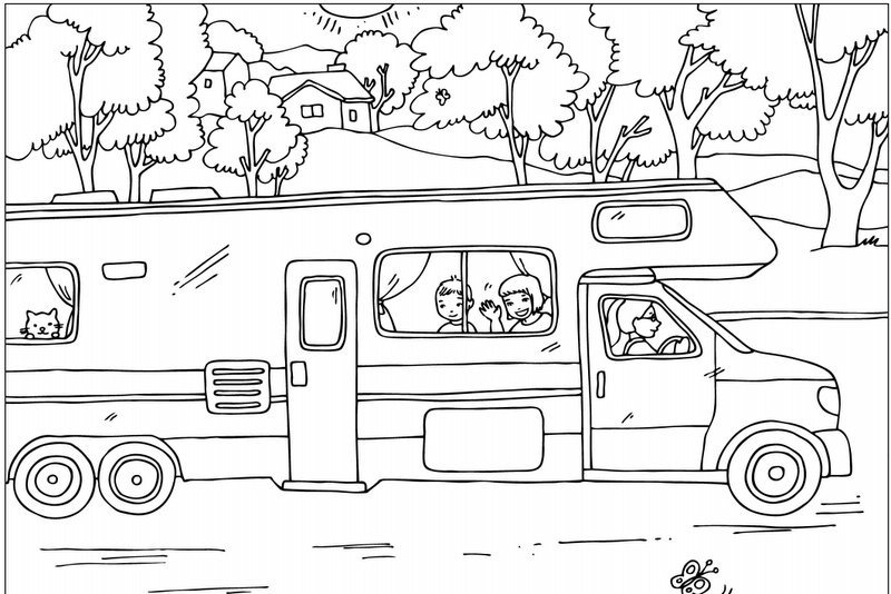 camper coloring pages - summer coloring pages