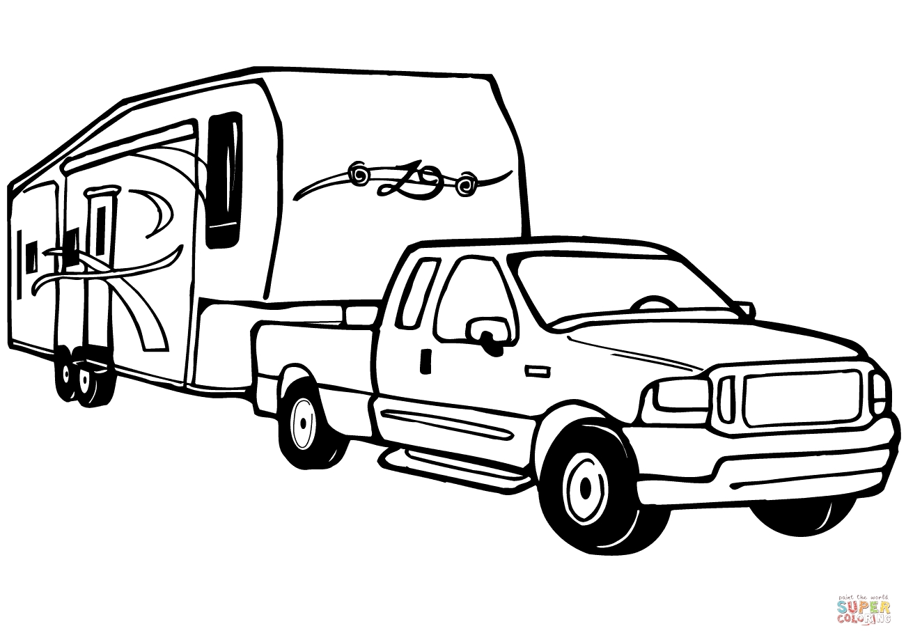 camper coloring pages - truck and rv camper trailer