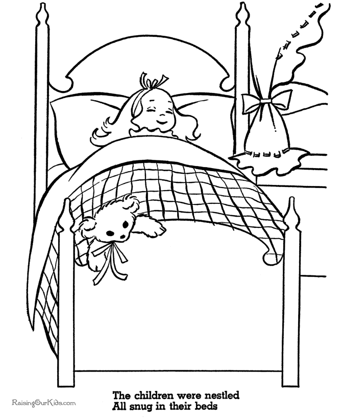campfire coloring page - bed coloring sheet