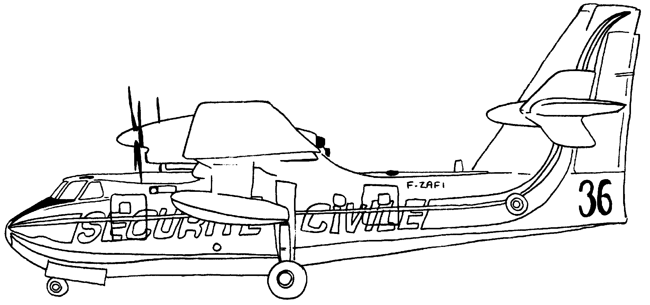 camping coloring pages - avion securite