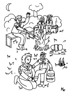 camping coloring pages - kleur