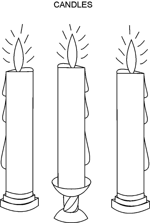 candle coloring page - candle and flowers coloring pages