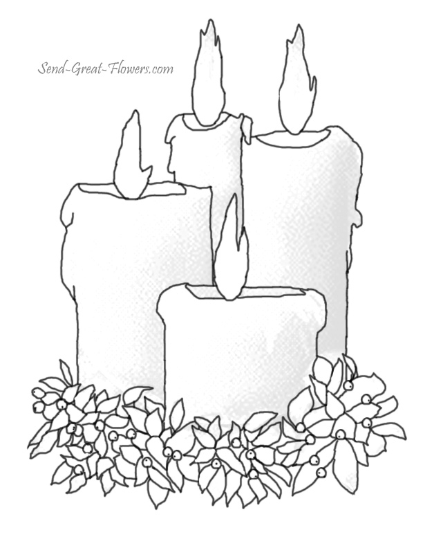 Candle Coloring Page - Christmas Candle Free Colouring Pages