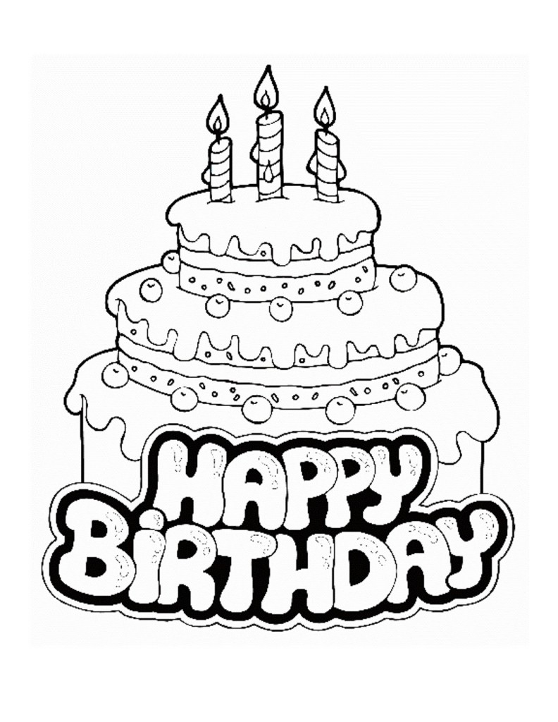candy coloring pages - birthday cake