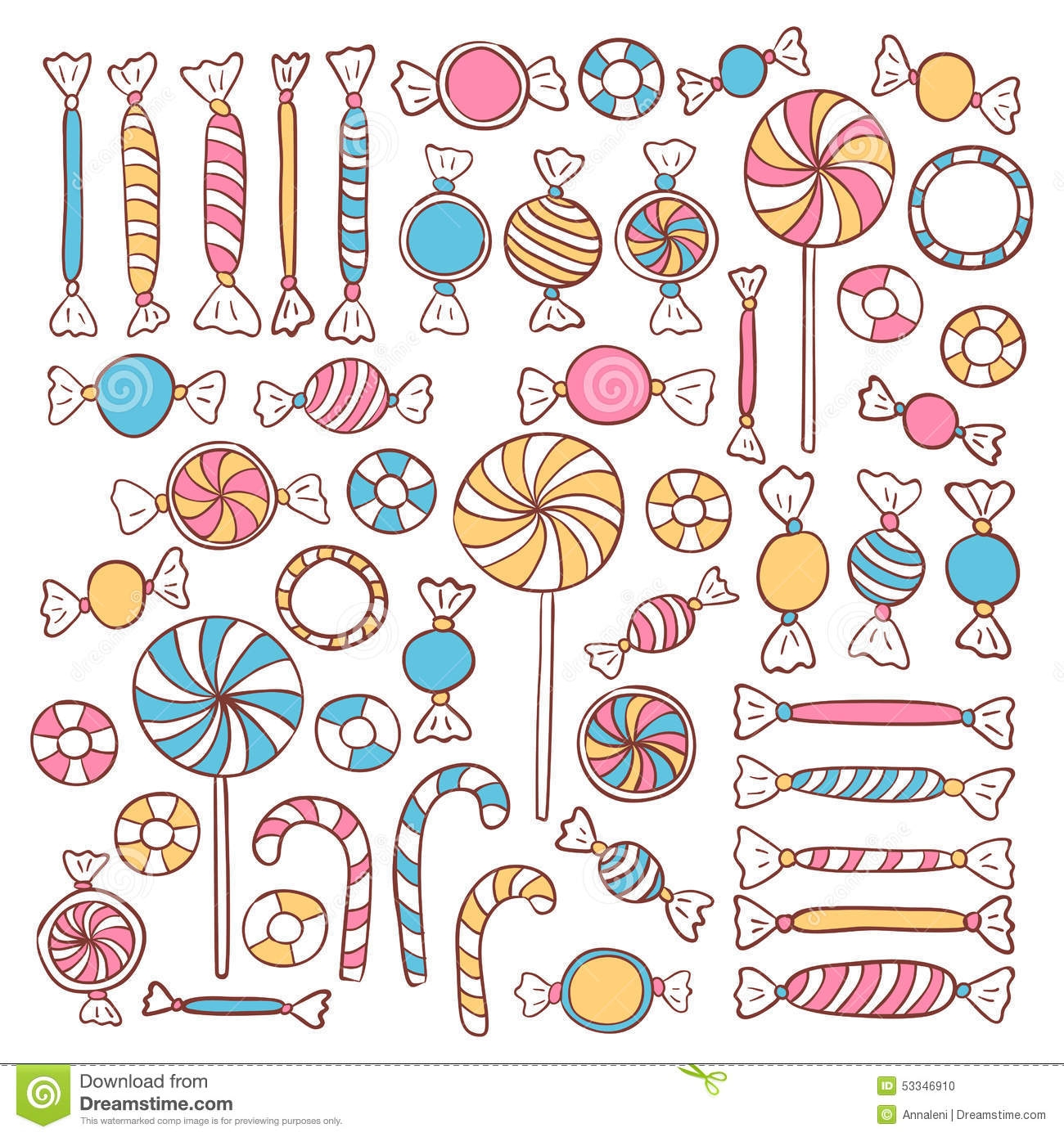 candy skull coloring pages - stock illustration doodle can s sweets hand drawn objects set vector food sketch image