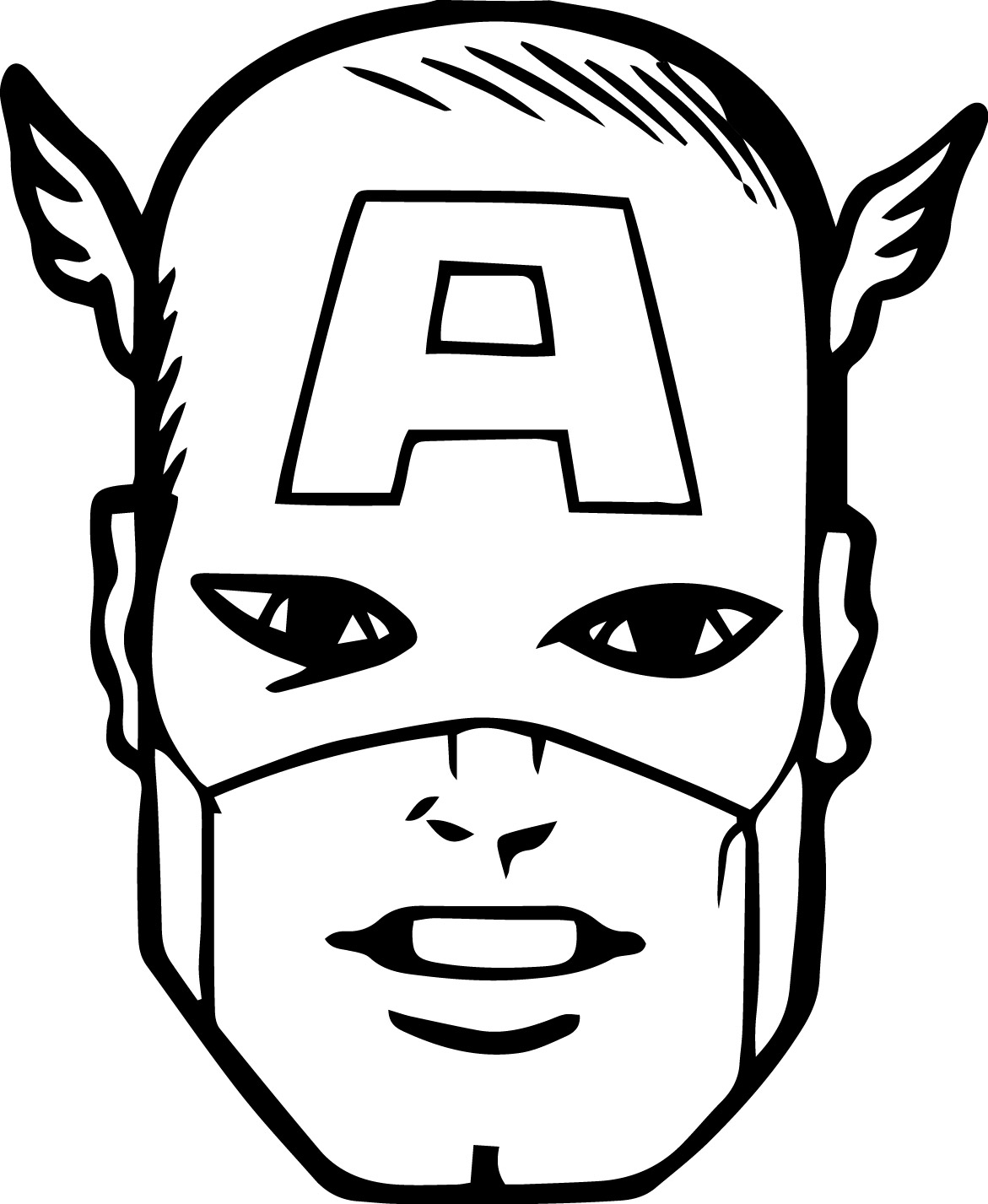 captain america shield coloring page - rosto do capitao america
