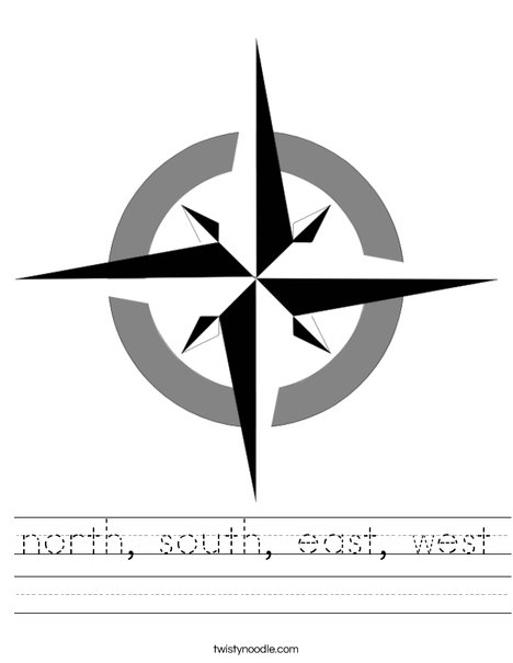 cardinal coloring page - north south east west 3 worksheet