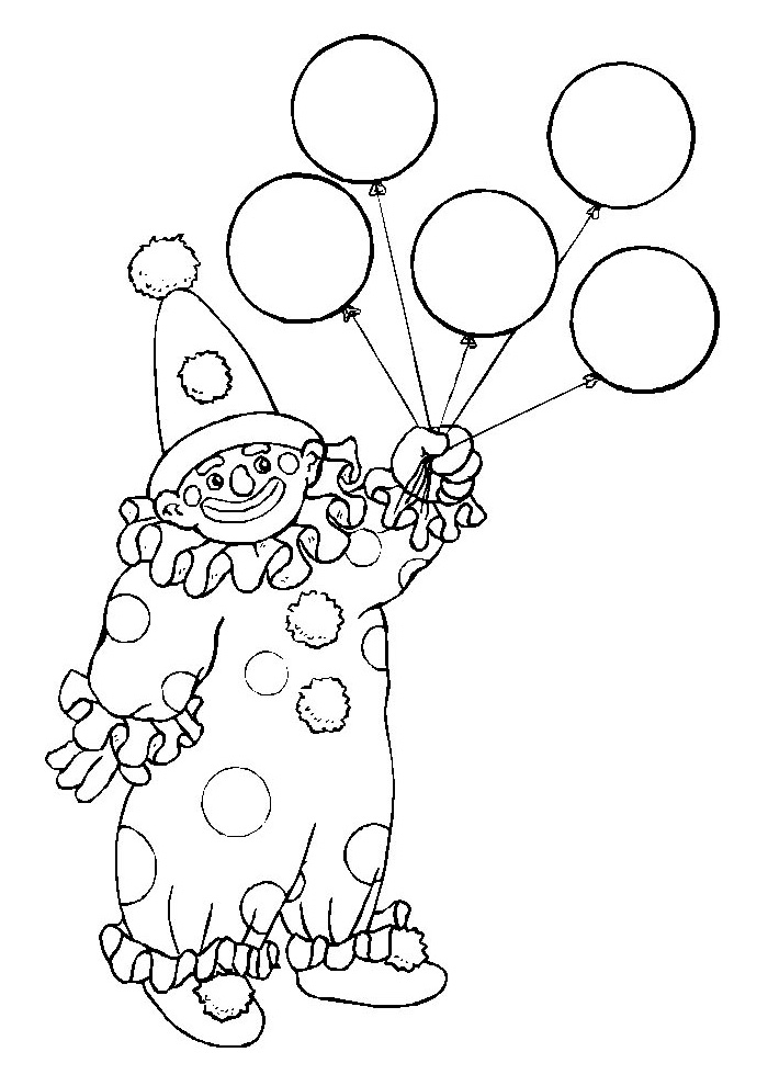 carnival coloring pages - clown met ballon