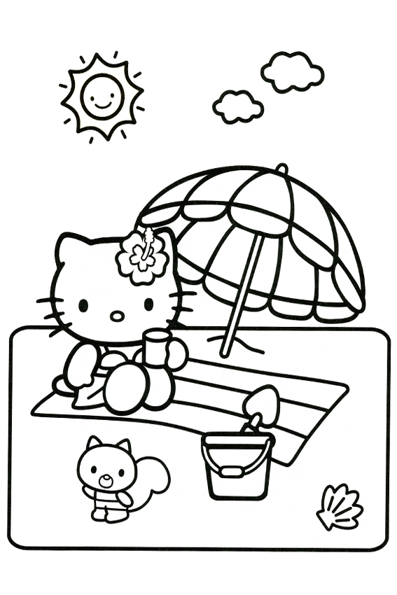 castle coloring pages - hello kitty coloring pages