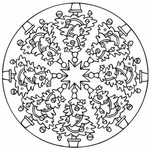 cat coloring pages for adults - christmas mandala