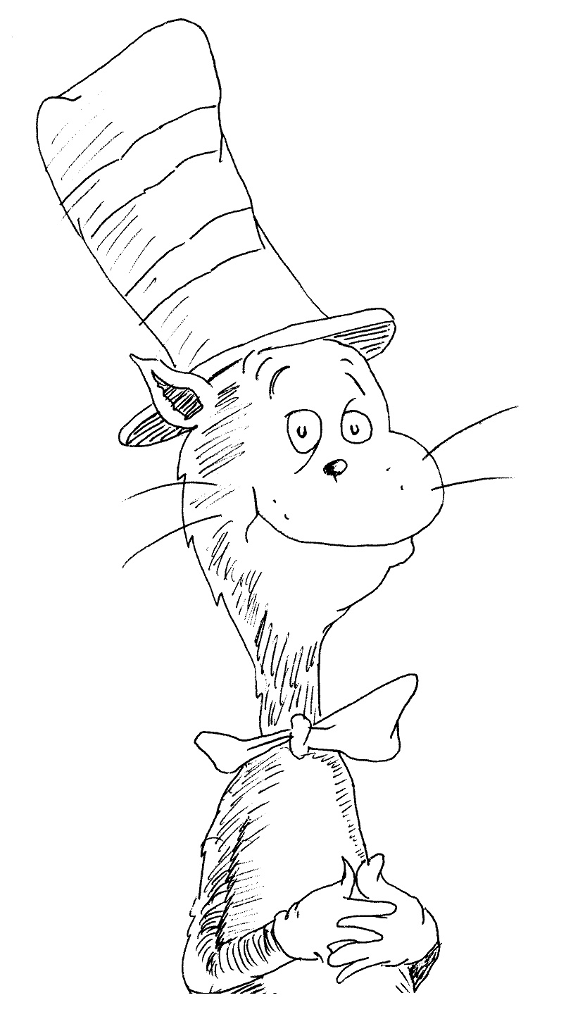 cat in the hat coloring pages - 0