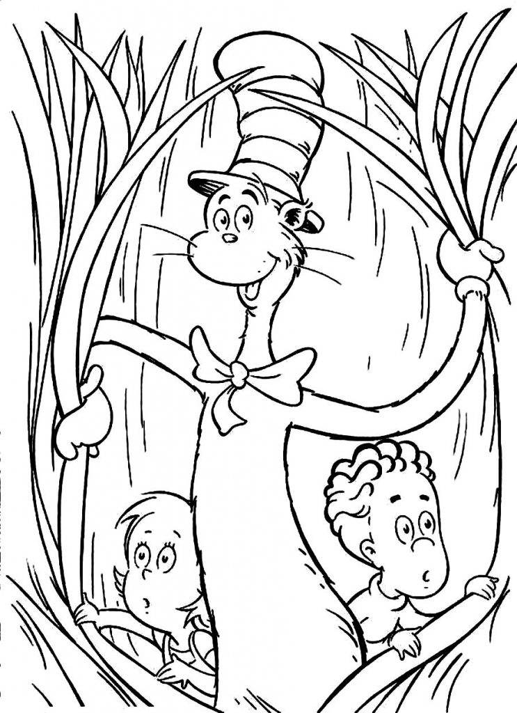 cat in the hat coloring pages - cat in the hat coloring pages