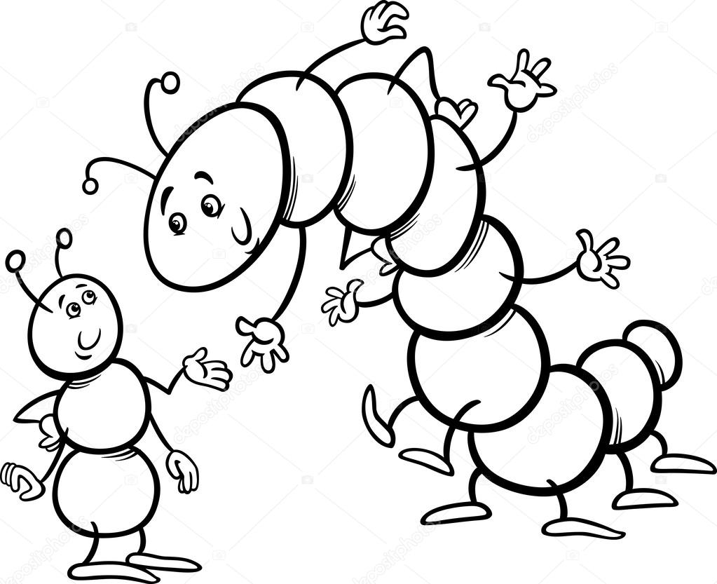 Caterpillar Coloring Page - formica E Caterpillar Colorare — Vettoriali Stock