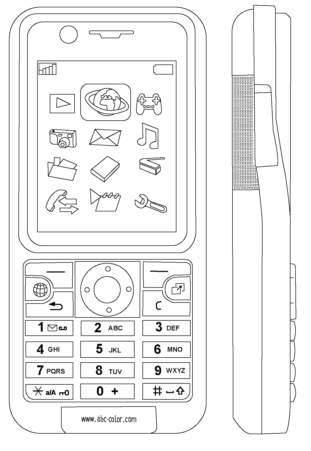 cell coloring page - cell phone coloring pages