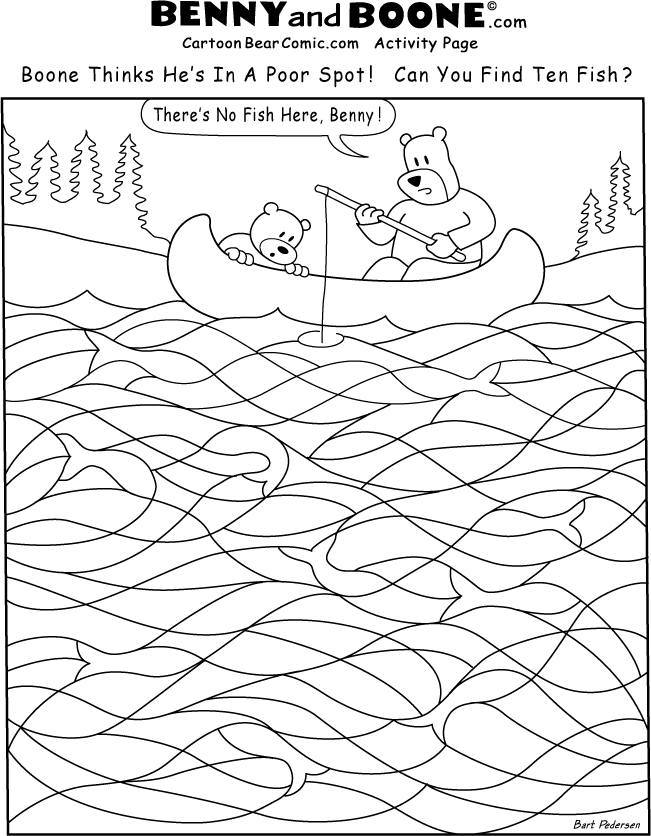 chanukah coloring pages - bear catch fish Activity