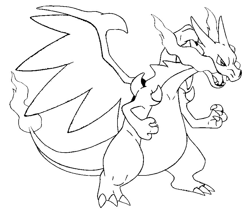 charizard coloring page - charizard mega evolution coloring pages