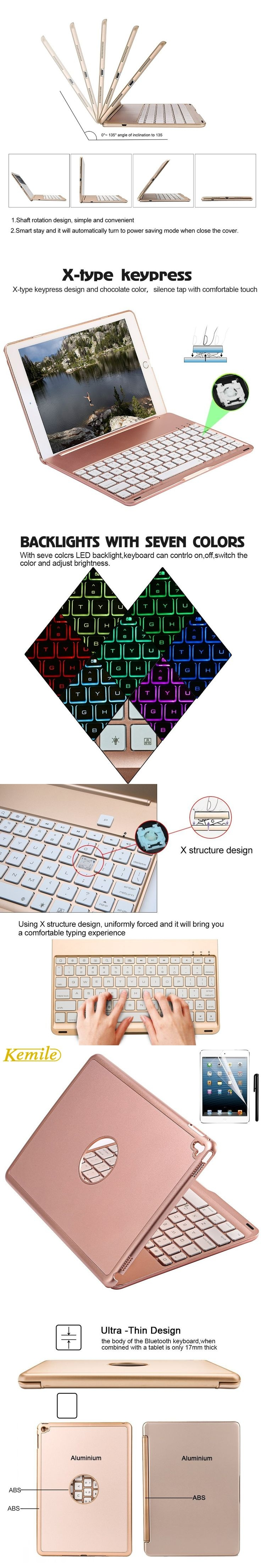 charlotte's web coloring pages - 7 Colors Backlit Light Aluminum Wireless Bluetooth Keyboard Case Cover For iPad mini mini2 For