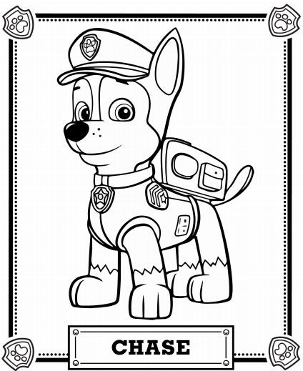 chase coloring page - large paw patrol chase coloring pages printable sketch templates