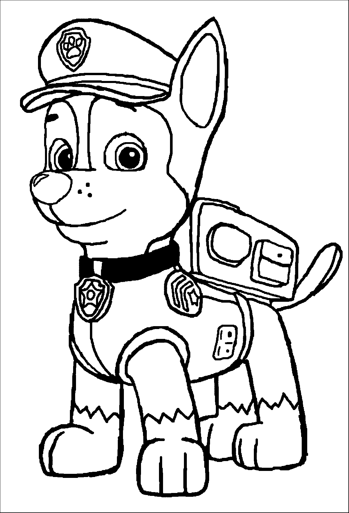chase coloring page - paw patrol coloring page chase