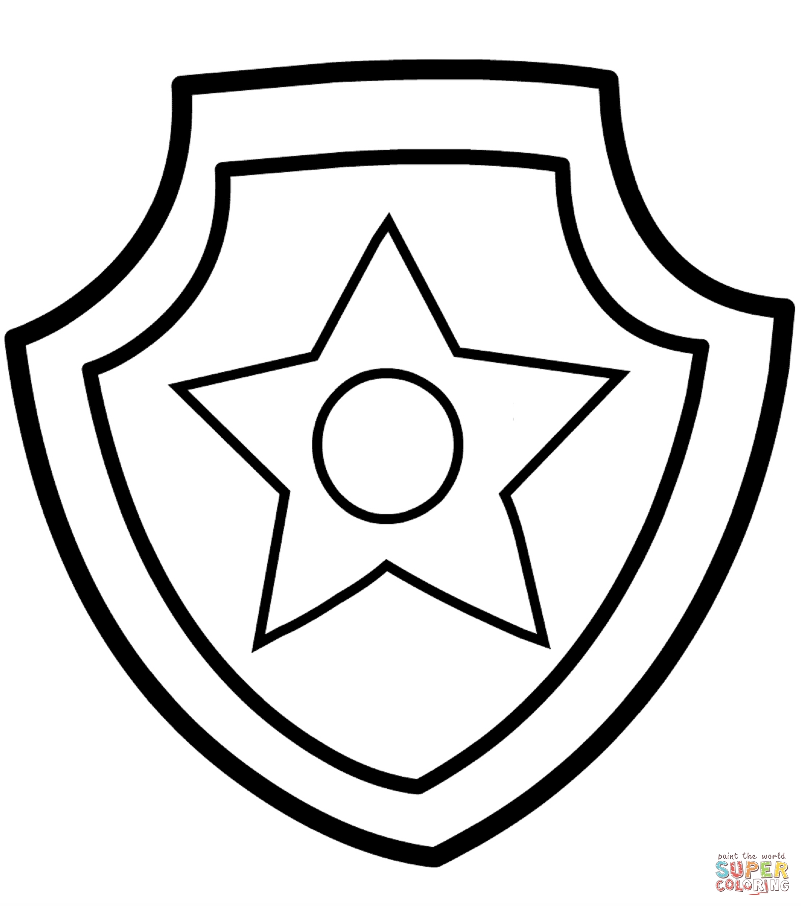 chase paw patrol coloring page - paw patrol chase badge