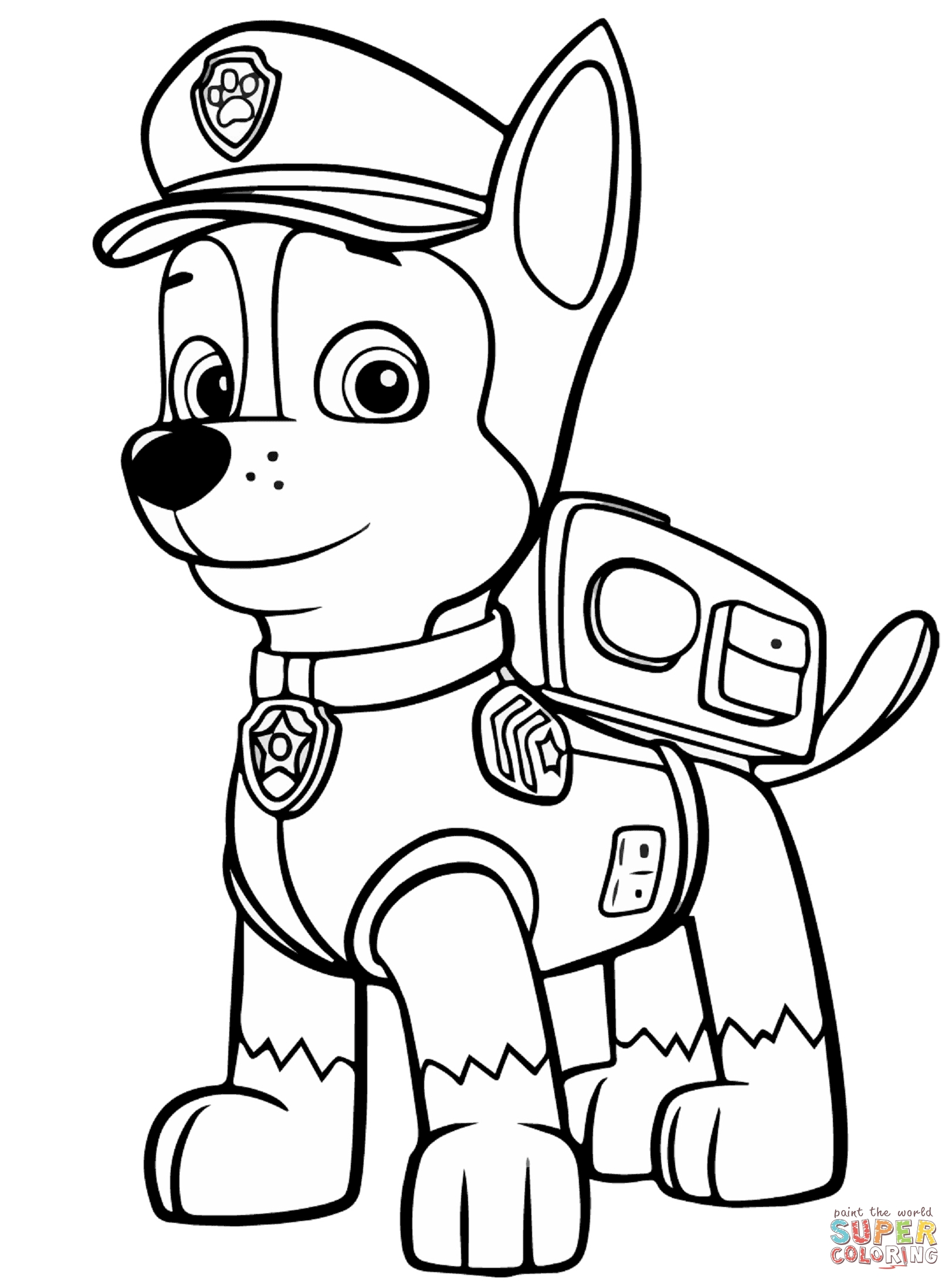 chase paw patrol coloring page - paw patrol chase coloring sketch templates