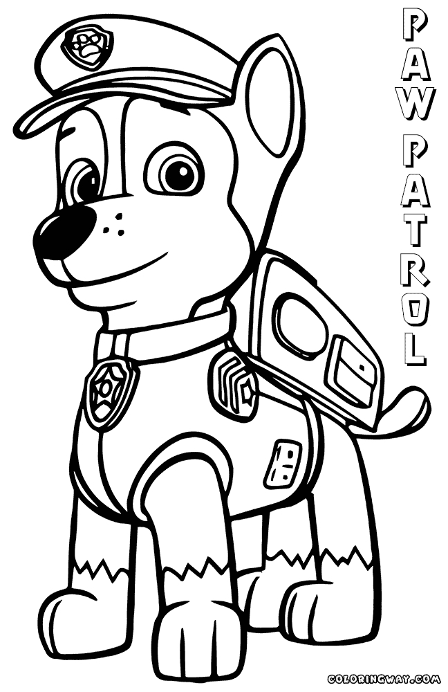 chase paw patrol coloring page - paw patrol chase coloring pages to print sketch templates