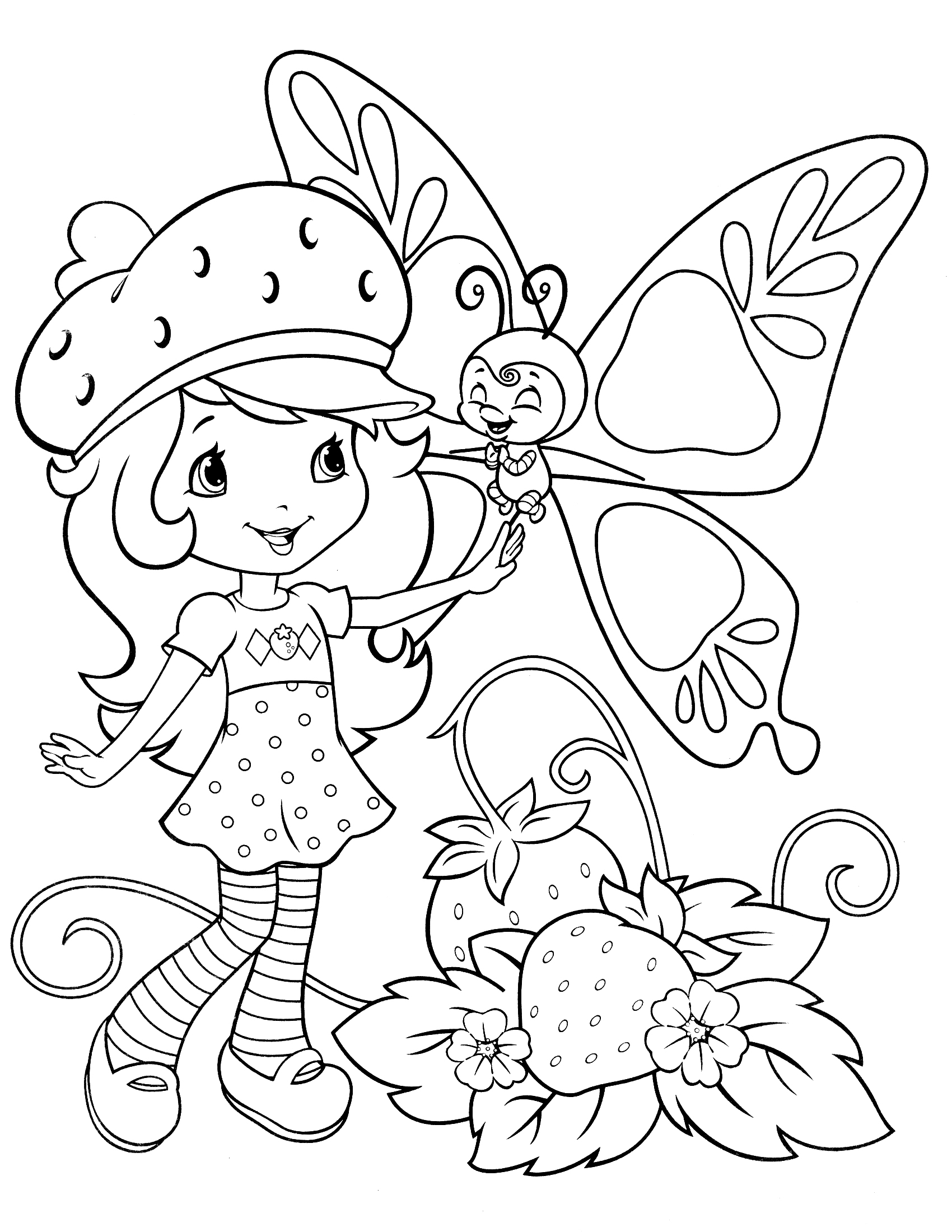 cheer coloring pages - printable strawberry shortcake coloring pages