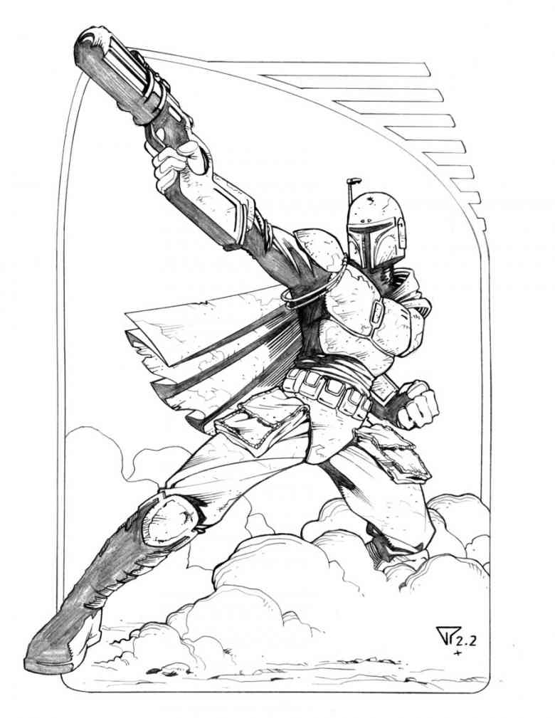 chewbacca coloring pages - boba fett 18