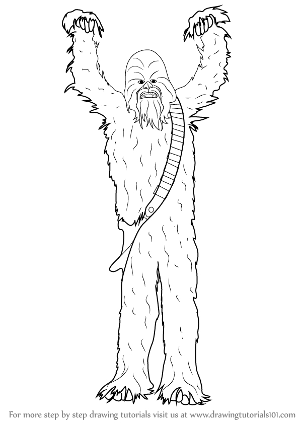 chewbacca coloring pages - how to draw chewbacca from star wars
