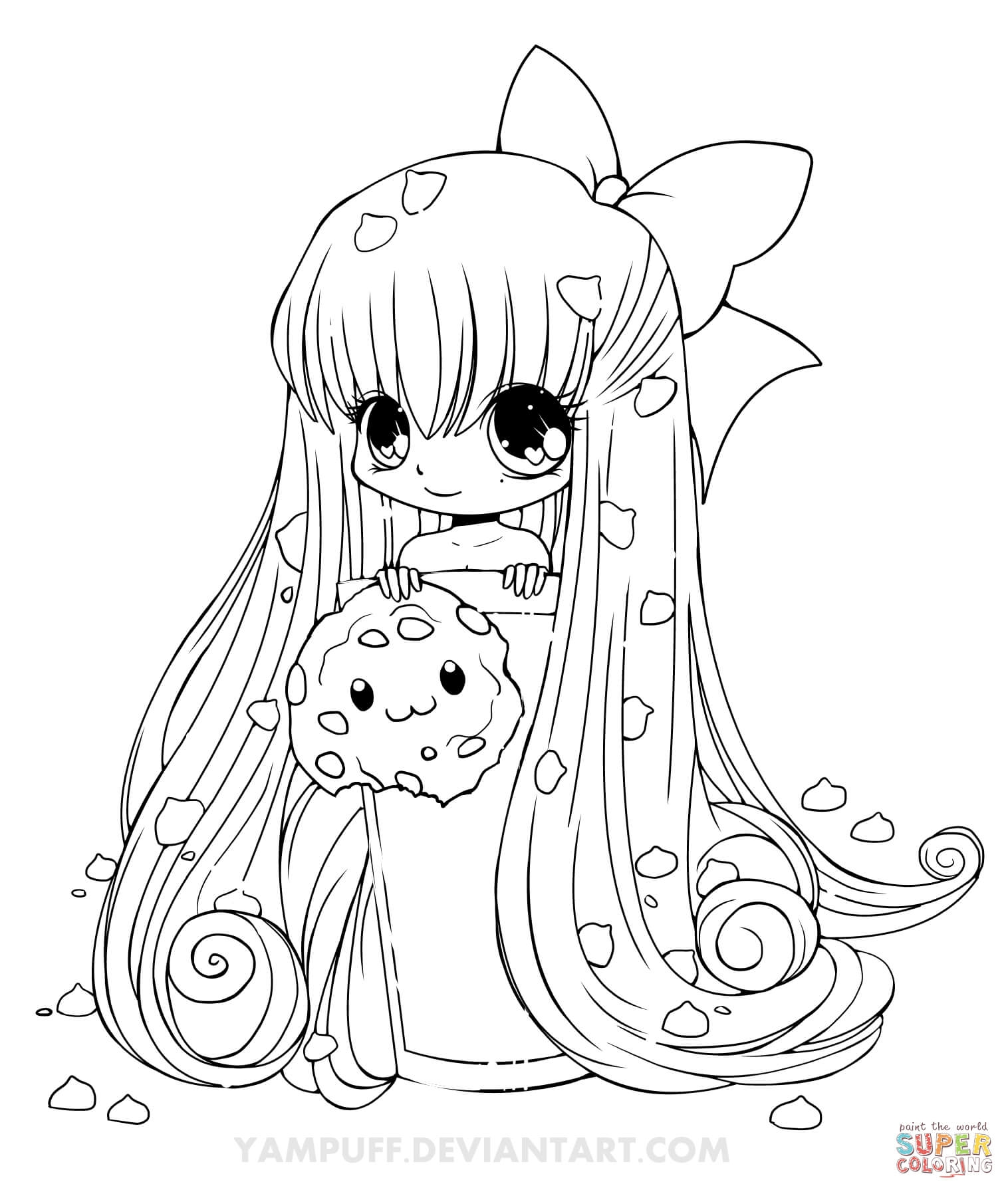 chibi girl coloring pages - chibi cookie girl