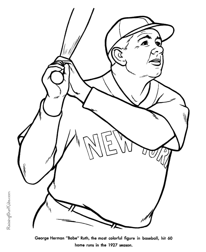 chicago cubs coloring pages - babe ruth coloring pages