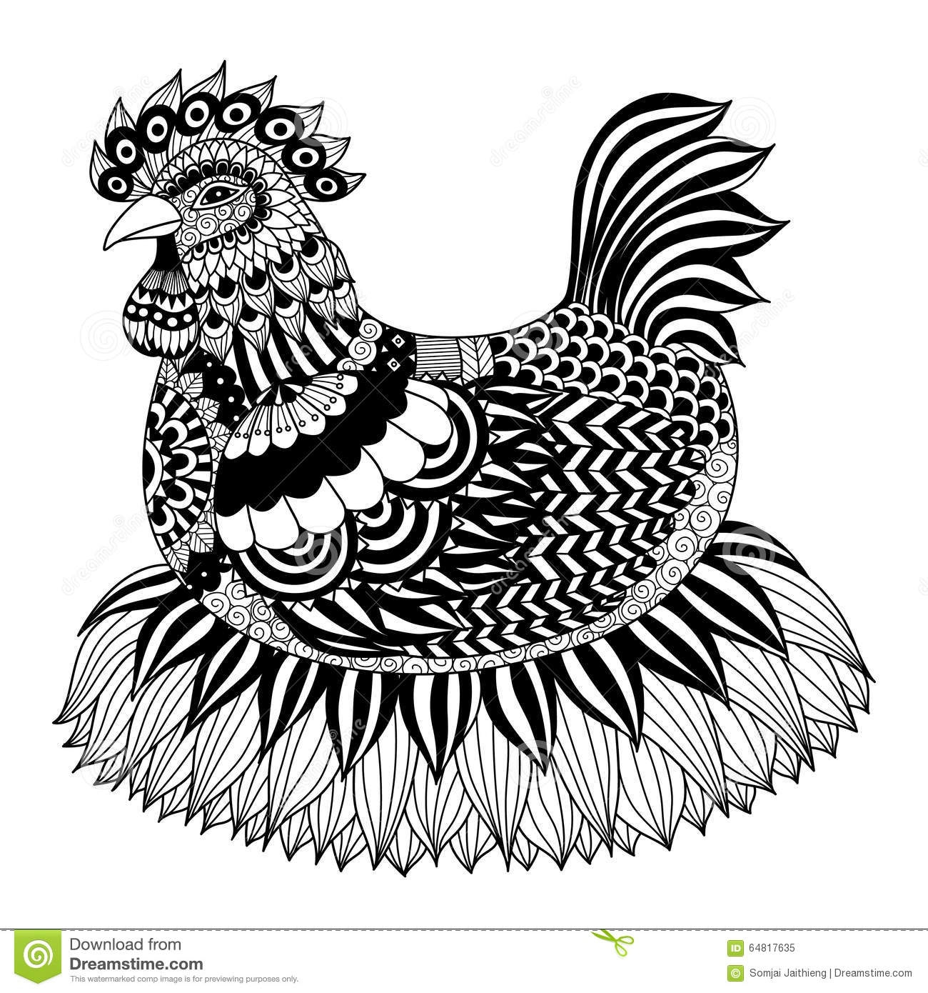 chicken coloring pages - stock abbildung hand gezeichnetes zentangle huhn image