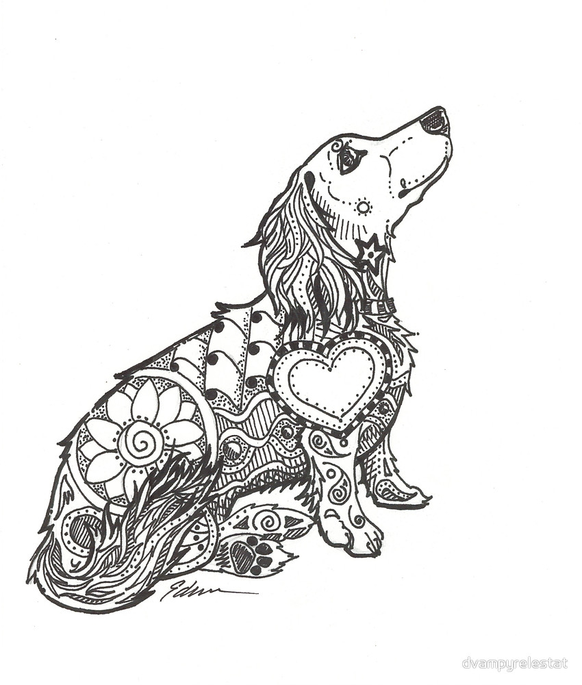 chihuahua coloring pages - dachshund lovers doxie zentangle